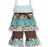 Blue and Brown Floral and Zebra 2pc Baby Girls Rumba Outfit