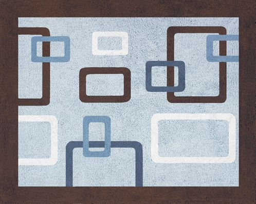 Blue and Brown Geo Accent Floor Rug - Click to enlarge
