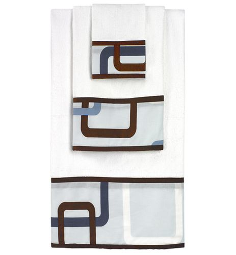 Blue and Brown Geo Baby and Kids Cotton Bath Towel Set - 3pc Set - Click to enlarge