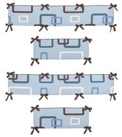 Blue and Brown Geo Collection Crib Bumper by Sweet Jojo Designs