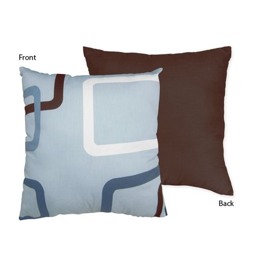 Blue and Brown Geo Decorative Accent Throw Pillow by Sweet Jojo Designs - Click to enlarge