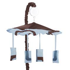 Blue and Brown Geo Musical Baby Boy Crib Mobile by Sweet Jojo Designs