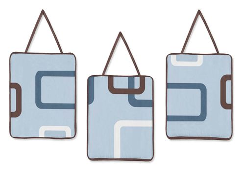 Blue and Brown Geo Wall Hanging Accessories by Sweet Jojo Designs - Click to enlarge