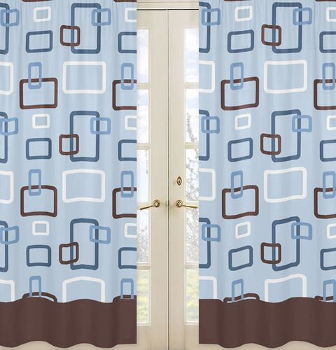 Blue and Brown Geo Window Treatment Panels - Set of 2 - Click to enlarge