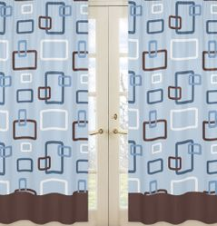 Blue and Brown Geo Window Treatment Panels - Set of 2