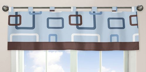 Blue and Brown Geo Window Valance by Sweet Jojo Designs - Click to enlarge