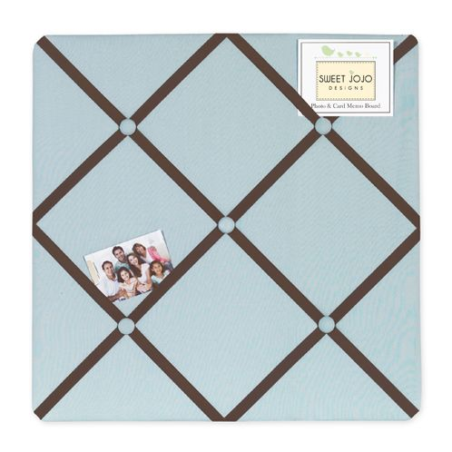 Blue and Brown Hotel Fabric Memory/Memo Photo Bulletin Board - Click to enlarge