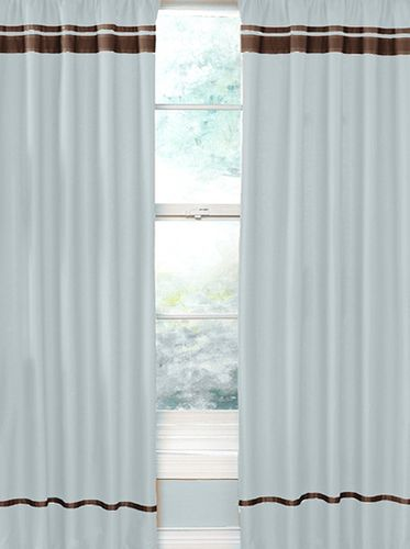 Blue and Brown Hotel Window Treatment Panels - Set of 2 - Click to enlarge
