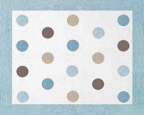 Blue and Brown Mod Dots Accent Floor Rug - Click to enlarge