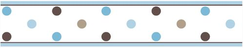 Blue and Brown Mod Dots Baby and Childrens Polka Dot Wall Border by Sweet Jojo Designs - Click to enlarge