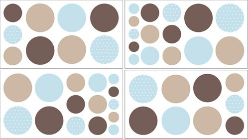 Blue and Brown Mod Dots Baby and Childrens Polka Dot Wall Decal Stickers - Set of 4 Sheets - Click to enlarge
