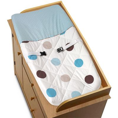 Blue and Brown Mod Dots Changing Pad Cover by Sweet Jojo Designs - Click to enlarge
