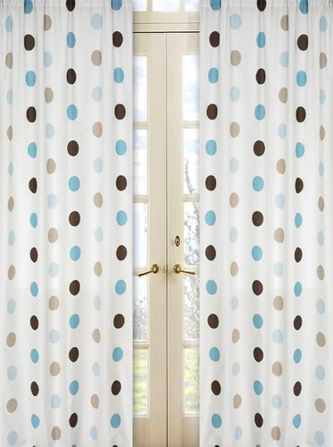 Blue and Brown Mod Dots Window Treatment Panels - Set of 2 - Click to enlarge