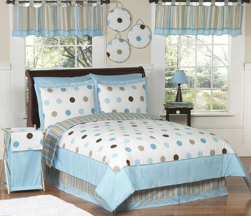 Blue and Brown Modern Dots Teen Bedding - 3 pc Full / Queen Set - Click to enlarge