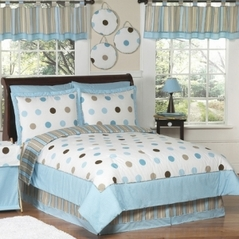 Blue and Brown Modern Dots Teen Bedding - 3 pc Full / Queen Set
