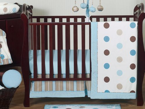 Blue and Brown Modern Polka Dot Baby Bedding - 11pc Crib Set by Sweet Jojo Designs - Click to enlarge