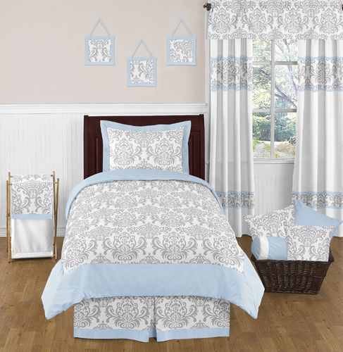 Blue and Gray Avery Childrens and Kids Bedding - 4pc Twin Set by Sweet Jojo Designs - Click to enlarge