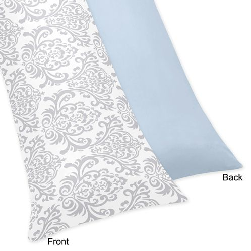 Blue and Gray Avery Full Length Double Zippered Body Pillow Case Cover by Sweet Jojo Designs - Click to enlarge