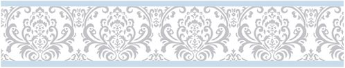 Blue and Gray Avery Kids and Baby Modern Wall Paper Border by Sweet Jojo Designs - Click to enlarge
