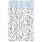 Blue and Gray Avery Kids Bathroom Fabric Bath Shower Curtain by Sweet Jojo Designs