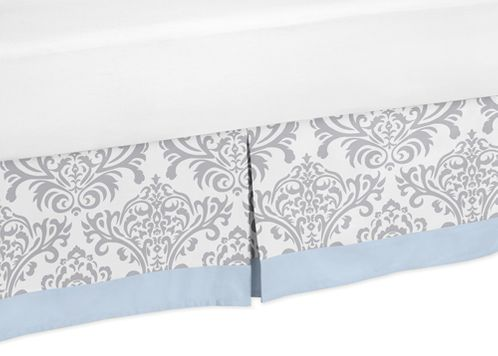 Blue and Gray Avery Queen Bed Skirt for Childrens Teen Bedding Sets by Sweet Jojo Designs - Click to enlarge