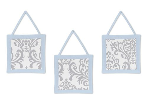 Blue and Gray Avery Wall Hanging Accessories by Sweet Jojo Designs - Click to enlarge
