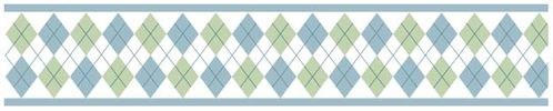 Blue and Green Argyle Baby and Kids Wall Border by Sweet Jojo Designs - Click to enlarge