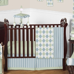 Blue and Green Argyle Baby Beddings - 11pc Crib Set