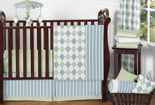 Blue and Green Argyle Baby Beddings - 11pc Crib Set - Click to enlarge