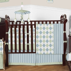 Blue and Green Argyle Baby Beddings - 9 pc Crib Set