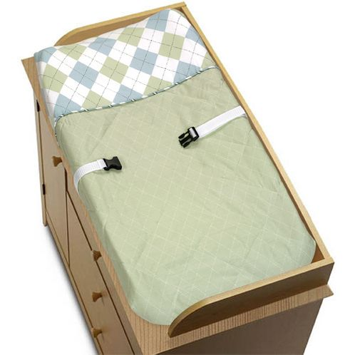 Blue and Green Argyle Changing Pad Cover by Sweet Jojo Designs - Click to enlarge