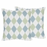 Blue and Green Argyle Decorative Accent Throw Pillows - Set of 2