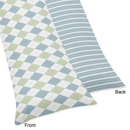Blue and Green Argyle Full Length Double Zippered Body Pillow Case Cover - Click to enlarge