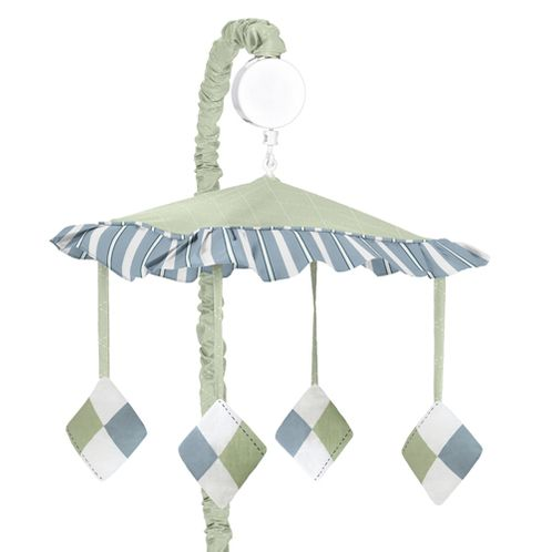 Blue and Green Argyle Musical Crib Mobile by Sweet Jojo Designs - Click to enlarge