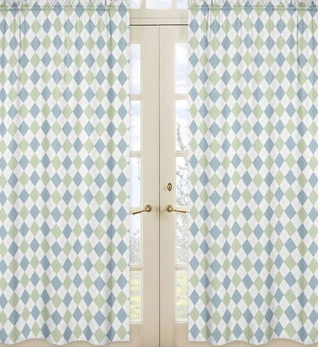 Blue and Green Argyle Window Treatment Panels - Set of 2 - Click to enlarge