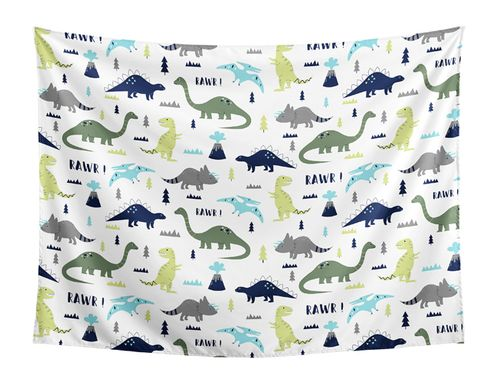 Blue and Green Dino Wall Hanging Tapestry Art Decor for Mod Dinosaur Collection by Sweet Jojo Designs - 60in. x 80in. - Click to enlarge
