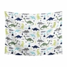 Blue and Green Dino Wall Hanging Tapestry Art Decor for Mod Dinosaur Collection by Sweet Jojo Designs - 60in. x 80in.