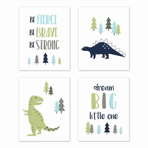 Blue and Green Dream Big Dino Wall Art Prints Room Decor for Baby, Nursery, and Kids for Mod Dinosaur Collection by Sweet Jojo Designs - Set of 4 - Click to enlarge
