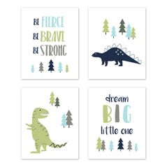 Blue and Green Dream Big Dino Wall Art Prints Room Decor for Baby, Nursery, and Kids for Mod Dinosaur Collection by Sweet Jojo Designs - Set of 4