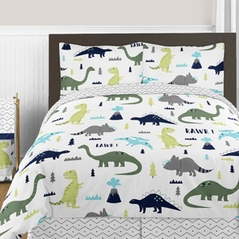 Blue and Green Mod Dinosaur 3pc Boy or Girl Full / Queen Bedding Set by Sweet Jojo Designs