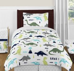 Blue and Green Mod Dinosaur 4pc Twin Boy or Girl Bedding Set by Sweet Jojo Designs