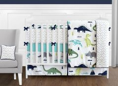 Blue and Green Mod Dinosaur - 9 Piece Baby Boy or Girl Bedding Crib Set