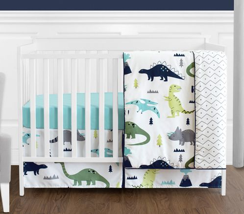 Blue and Green Mod Dinosaur Baby Boy or Girl Bedding - 4pc Crib Set by Sweet Jojo Designs - Click to enlarge