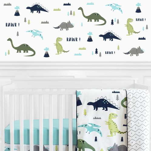 Blue and Green Modern Dinosaur Peel and Stick Wall Decal Stickers Art Nursery Decor for Mod Dino Collection by Sweet Jojo Designs - Set of 4 Sheets - Click to enlarge