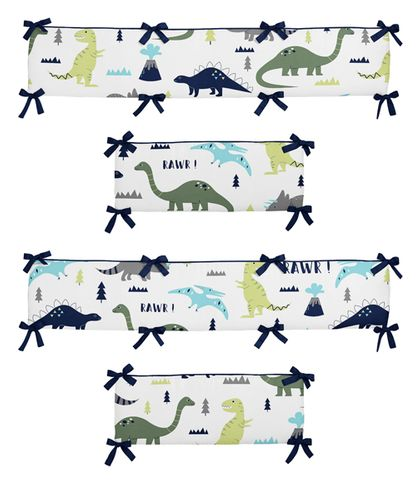 Blue and Green Mod Dinosaur Baby Crib Bumper Pad by Sweet Jojo Designs - Click to enlarge
