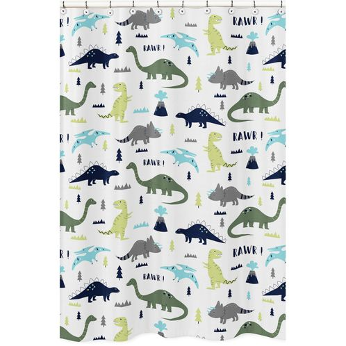Blue and Green Mod Dinosaur Childrens Bathroom Fabric Bath Shower Curtain by Sweet Jojo Designs - Click to enlarge