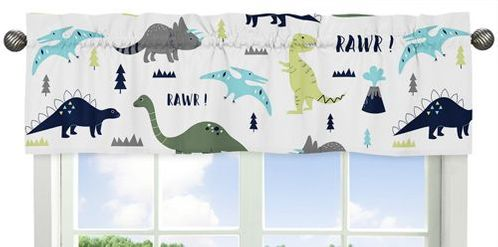 Blue and Green Mod Dinosaur Collection Window Valance by Sweet Jojo Designs - Click to enlarge