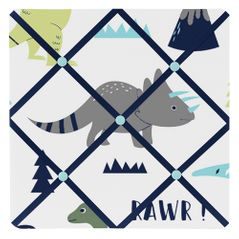 Blue and Green Mod Dinosaur Fabric Memory/Memo Photo Bulletin Board by Sweet Jojo Designs