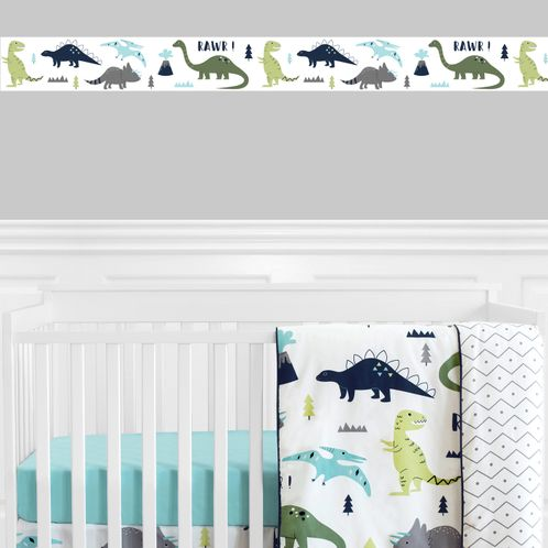 Blue and Green Mod Dinosaur Kids and Baby Modern Wall Paper Border by Sweet Jojo Designs - Click to enlarge
