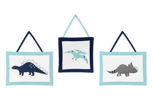 Blue and Green Mod Dinosaur Wall Hanging Accessories by Sweet Jojo Designs - Click to enlarge